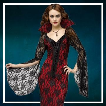Loja online de roupas de Halloween de vampira para mulher