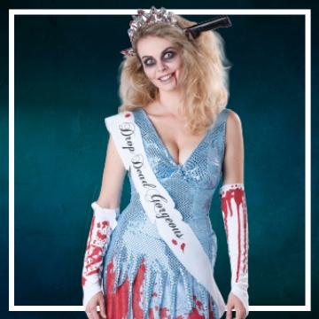 Loja online de roupas de Halloween de zombies para mulher